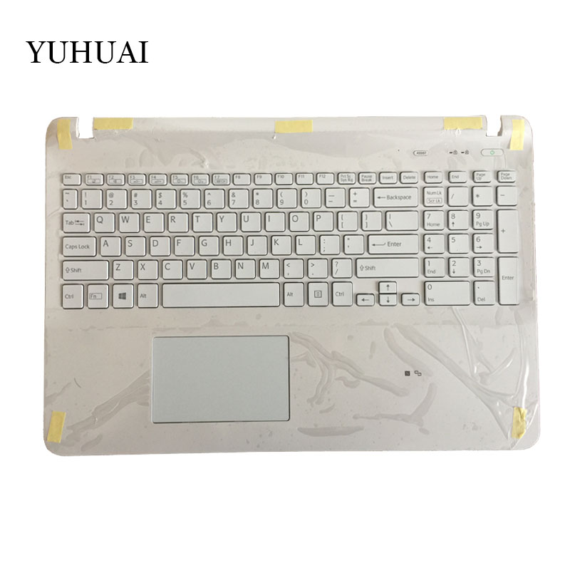 US Laptop keyboard for sony Vaio SVF15 FIT15 SVF152 SVF153 SVF1541 SVF15E white with Palmrest Cover backlight Touchpad new laptop for sony vaio svd13228scw svd13228 svd13228scb palmrest english us keyboard backlit black