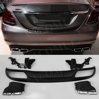 C Class PP Rear Diffuser with Exhaust Tips Four Outlet for Benz W205 C200 C260 4 Door Change to C63 AMG look C63 Style