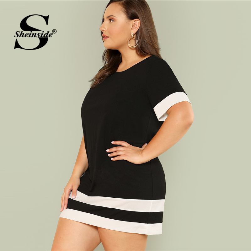 Sheinside Striped Black and White Plus Size Casual Dress Women Round ...