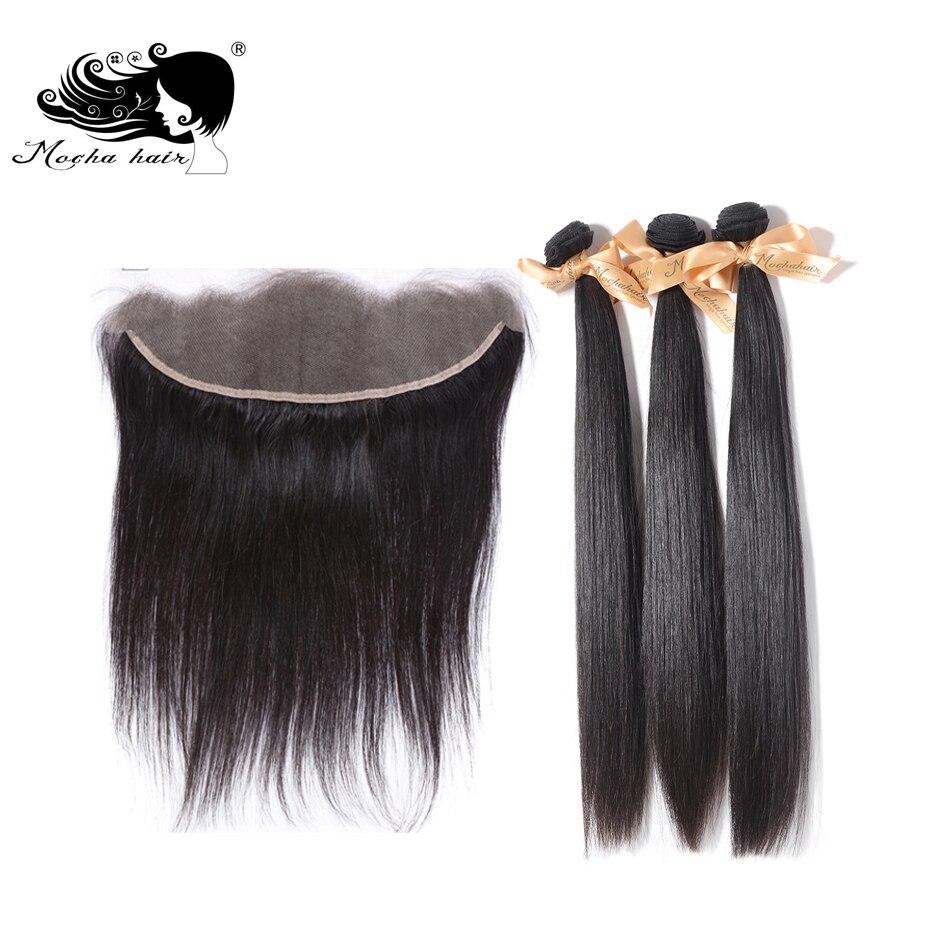 MOCHA Hair 3pcs 10A Brazilian Straight Virgin Hair with 1pcs Lace Frontal Closure 13 4 Bleached