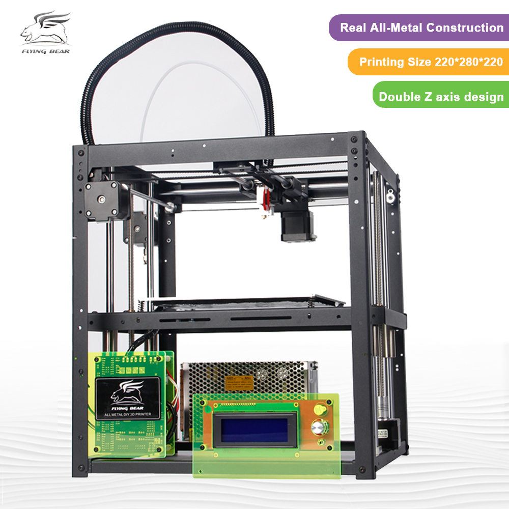 3D printer kit FlyingBear P905 All Metal Dual Extruder Auto Leveling Makerbot Structure DIY 3D Printer double color m6 3d printer 2017 high quality dual extruder full metal printers 3d with free pla filaments 1set gift