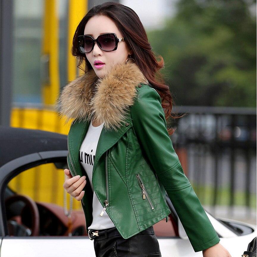 2018 herbst Neue Frauen Echte Waschbär Hund Pelz Kragen Leder Jacke Slim Stehkragen Plus Baumwolle Motorrad Leder Jacke M 5XL-in Leder & Wildleder aus Damenbekleidung bei  Gruppe 3