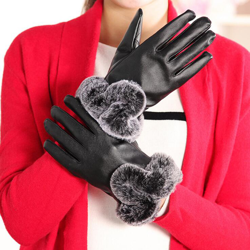 Women Leather Gloves Warm And Elegant Faux Rabbit Fur PU Gloves For Winter Gloves Brand Mitten Women Gloves elegant prevent bask cotton gloves for women pink pair