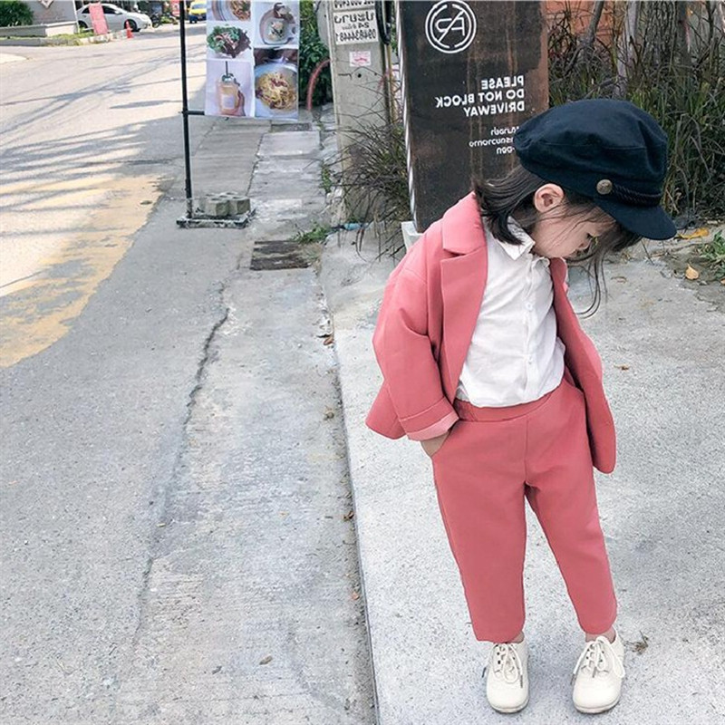 New Spring Girls Clothing Sets 2019 High Quality Soild Double-breasted Blazer Coat+Pant 2pc Party Suit Toddler Outfits 2-7YrsNew Spring Girls Clothing Sets 2019 High Quality Soild Double-breasted Blazer Coat+Pant 2pc Party Suit Toddler Outfits 2-7Yrs