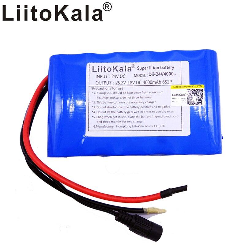 цена Liitokala 24v4000mAh lithium ion battery pack 6S2P 18650 24v8Ah rechargeable battery bms large-capacity robot small motor batter
