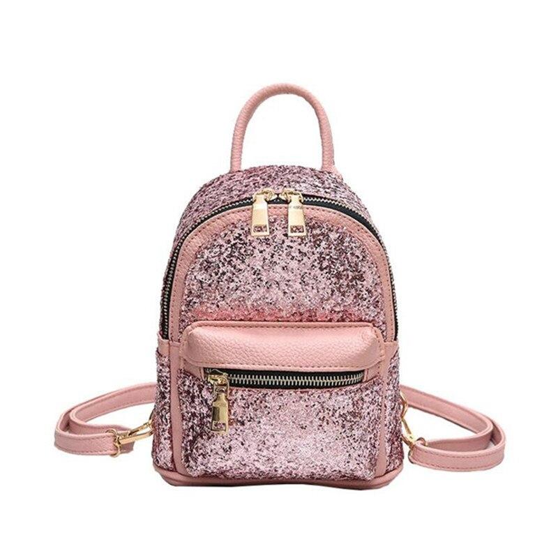 New Cute Mini Princess Bling Sequin Backpack Women PU Leather Nylon Backpack Bag Teenage Bags For Girls daypack mochila C2370
