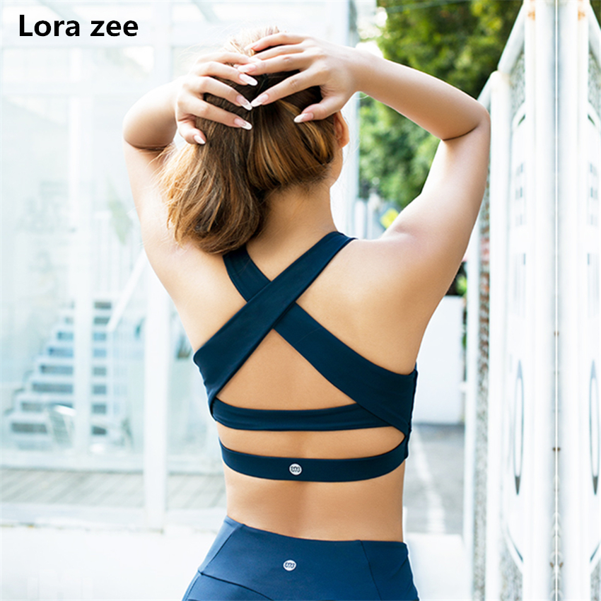 40069ba5b7 High Impact Push Up Pink Sports Bra Strappy Back Running Yoga Bras For Women  Comfy White Fitness Clothing ShockProof Ballet Top