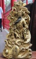 Darmowa Wysyłka 0 Chiński Miedź Brąz Gild Górskiej jazdy Guan Gong Guan Yu Wojownik Statua Buddy w Posągi i rzeźby od Dom i ogród na