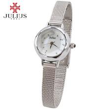 Dames en acier plein femmes robe strass montres mode casual Japon quartz montre-bracelet Top marque Julius 482 Meilleur analogique horloge