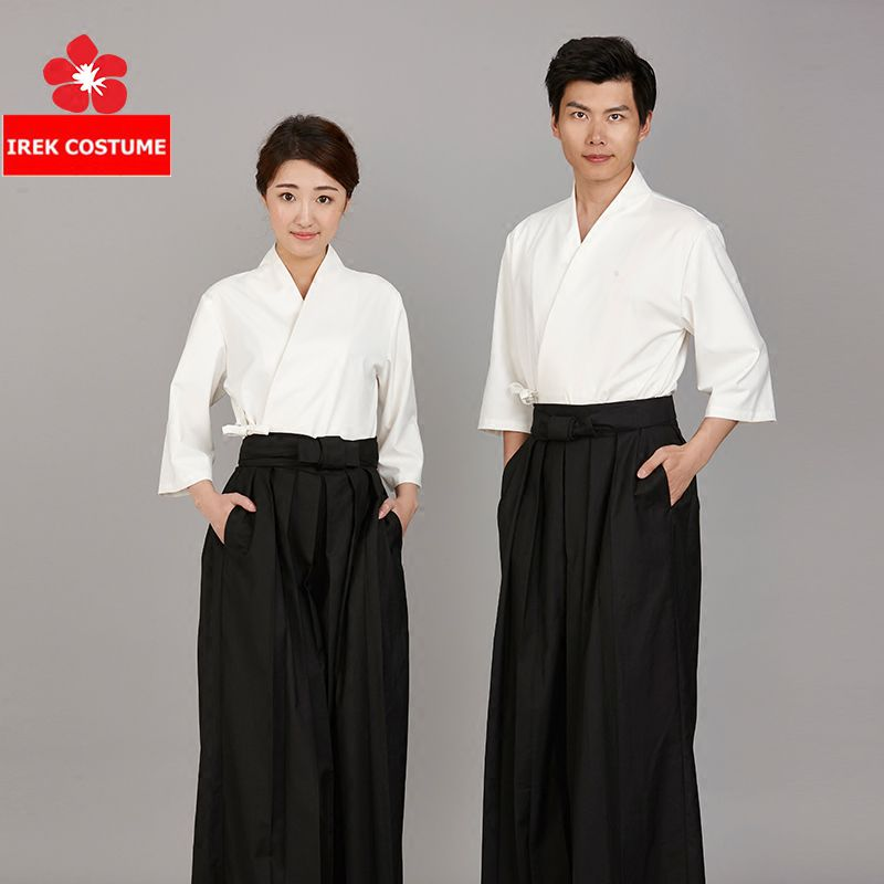 New Japanese Korea Style Kimono Medium Sleeve Waiter Waitress Work Uniform Restaurant High End Chef Cook Uniforms LN01