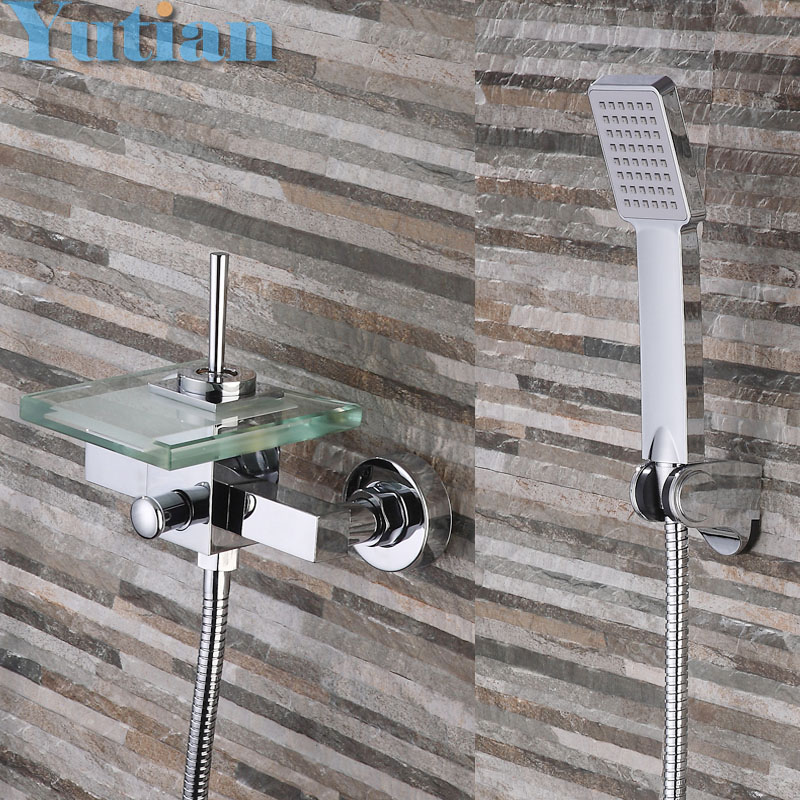 Free shipping Polished Chrome Finish New Wall Mounted Waterfall Bathroom Bathtub Handheld Shower Tap Mixer Faucet YT-5331 8 led new wall mounted ultrathin spray square waterfall handheld shower chrome polished shower sets tap mixer faucet sets head