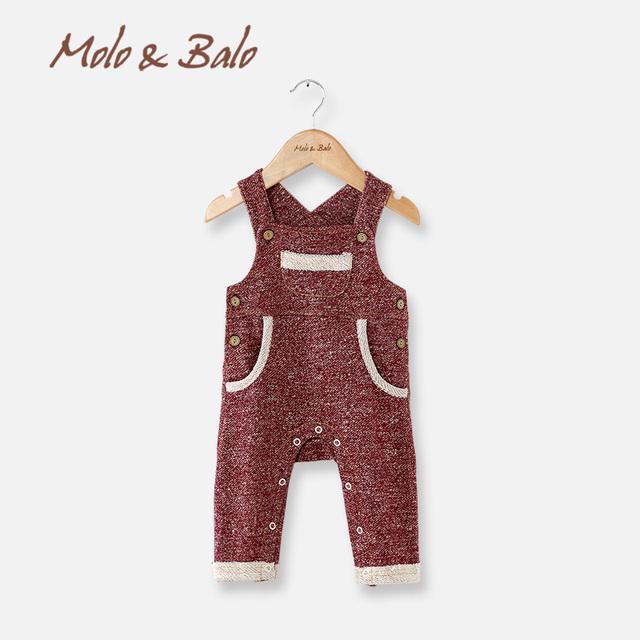 Molo y balo bib bebé pantalones de primavera y otoño 100% pantalones de algodón de primavera nueva llegada de la ropa pantalones del babero del bebé del bebé pantalones