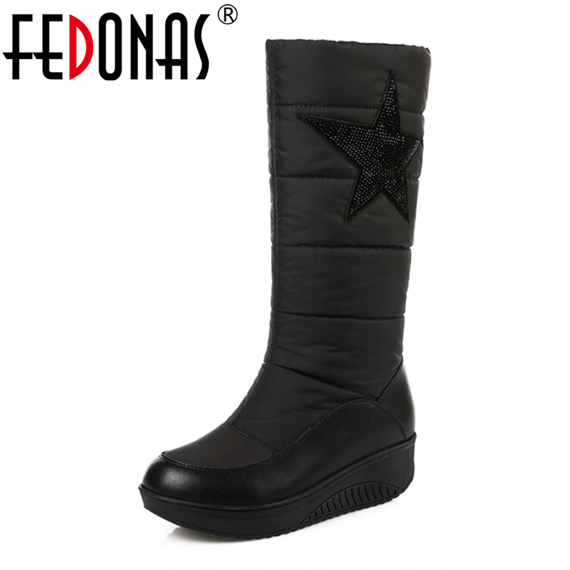FEDONAS High Quality Fashion Women Genuine Leather Snow Boots Keep Warm Down Winter Boots Women Platforms Rhinestone Shoes Woman fedonas top quality winter ankle boots women platform high heels genuine leather shoes woman warm plush snow motorcycle boots