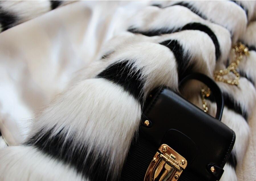 Blanc Manteau Renard Femmes De Patchwork 2019 Épais A1773 Faux Survêtement Et Fourrure Manteaux Veste Nouvelle Mode Rayé Chaud Hiver Noir d0v7nxfxwq
