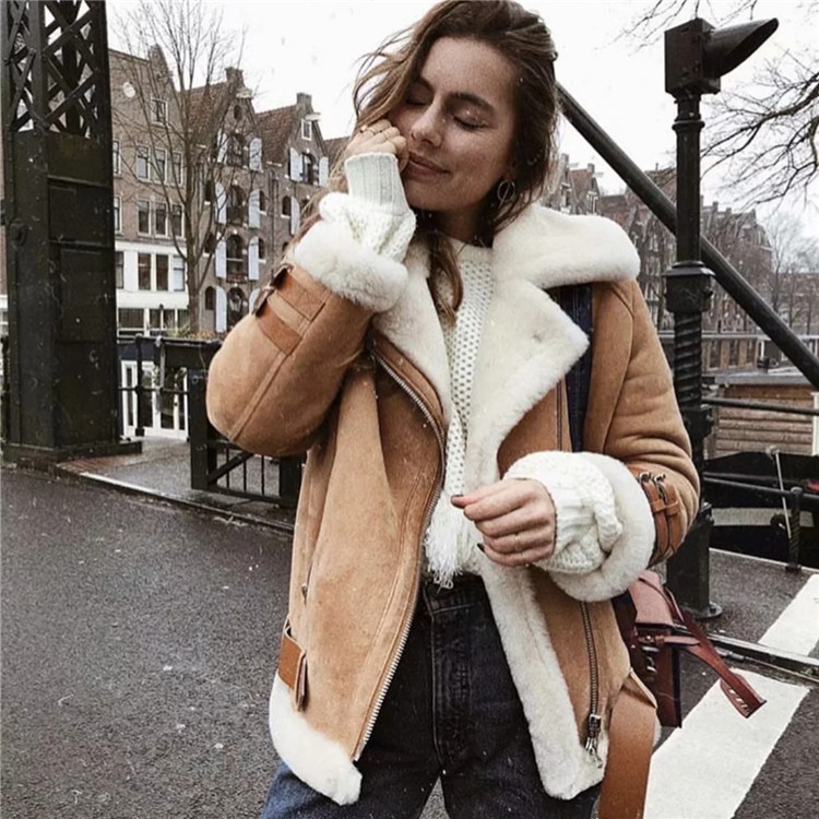 2018 Women's Fashion Leather Jackets Faux Suede Winter Coats Thick Solid Color Sashes Street Outerwear Fur Collar Basic Jackets