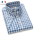 Langemng 2016 verão novas camisas xadrez homens de negócios casuais top fashion da marca 100% algodão camisas de vestido camisa masculina camisas
