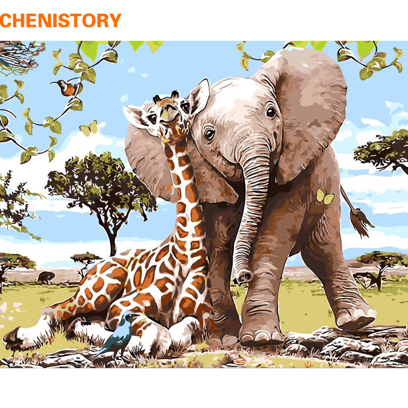 CHENISTORY Sans Cadre Éléphant Girafe DIY Peinture Par Numéros Moderne Mur Art Photo Peinture Par Numéros Unque Cadeau Pour La Décoration Intérieure