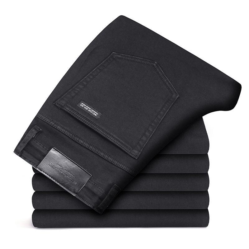 Черные Серые брендовые джинсы, брюки, Мужская одежда, Эластичные Обтягивающие джинсы, деловые повседневные мужские джинсы, узкие брюки, классический стиль - Цвет: Black grey