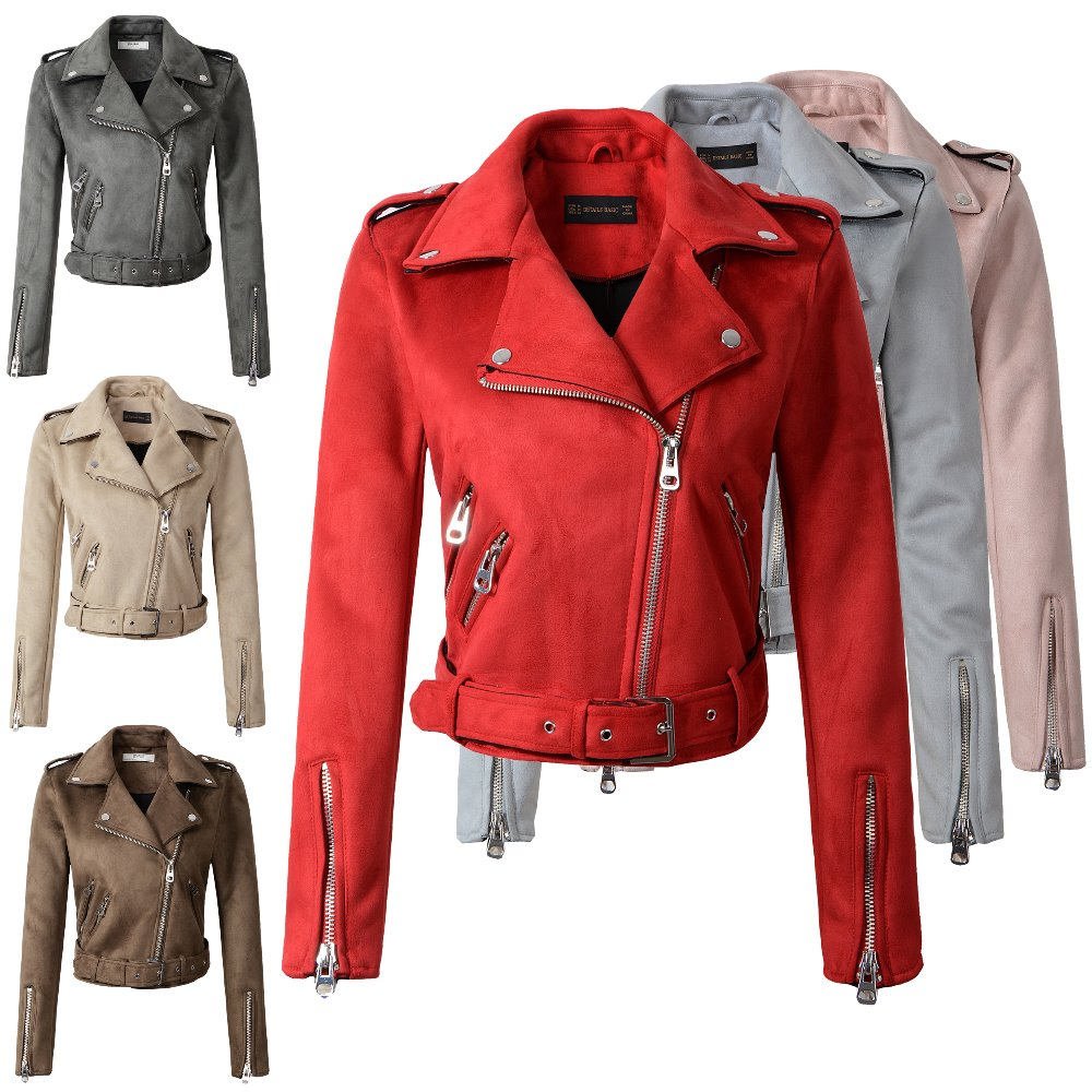 2018 New Autumn Winter Women Motorcycle Faux PU   Leather   Red Pink Jackets Lady Biker Outerwear Coat with Belt Hot Sale 7 Color