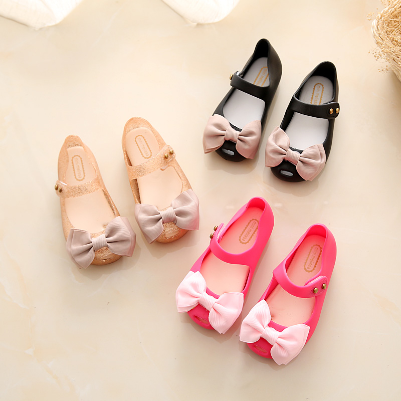 2018 Mini Melissa Girls Jelly Sandals Cloth Bow ChildrenS Sandals Bow Jelly Princess Shoes Melissa Sandals 14-17cm