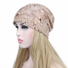 Women Turban Hat 2017 Female Beanie Bonnet Women's Lace Flower Sequin Butterfly Hat Chemo Beanies Double Layers Mesh Cap Gorros
