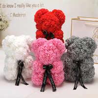 25/40cm Christmas Thanksgiving Gift Teddy Roses Bear Of Artificial Flower rosas rojas Women Rose Teddy Bear