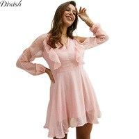 Diwish New Arrival Women Chiffon Dress V Neck Jacquard Mesh Pink Dress Long Sleeve Solid Ruffle Dress Summer Clothes for Women