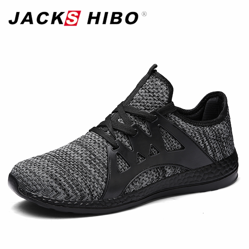 JACKSHIBO Men Male Sneakers Breathable Sport Running Shoes for Big Size Women outdoor Zapatos Super Light Lace-up Shoe