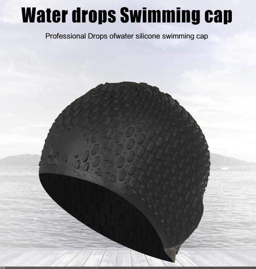 ซิลิโคนกันน้ำผู้ชายผู้หญิงว่ายน้ำหมวก Unisex ผู้ใหญ่ป้องกันหูหมวกว่ายน้ำผมยาวหมวกฝาครอบหู Bone Pool หมวกว่ายน้ำ