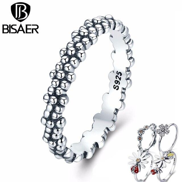 1a0fd5e74434 BISAER Real 925 plata esterlina flor anillo flor anillos para las mujeres  mariquita anillo de compromiso joyería de Anel S925 WEU7628