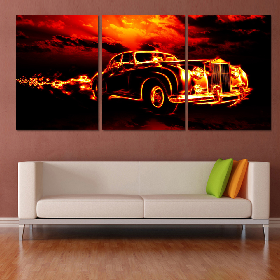 Modern Art Paintings For Living Room Aliexpresscom Buy 3 Pcs Red Sports Car Wall Art Painting Home