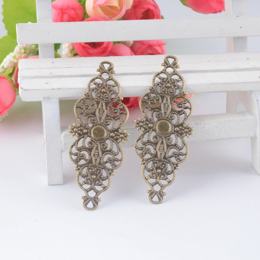 Retail 10Pcs Bronze Tone Filigree Flower Wraps Connectors Metal Crafts Gift Decoration DIY Findings 6.1x2.4cm doreenbeads filigree stainless steel connectors findings flower silver tone rose pattern hollow 24mm 1 x 24mm 1 2 pieces