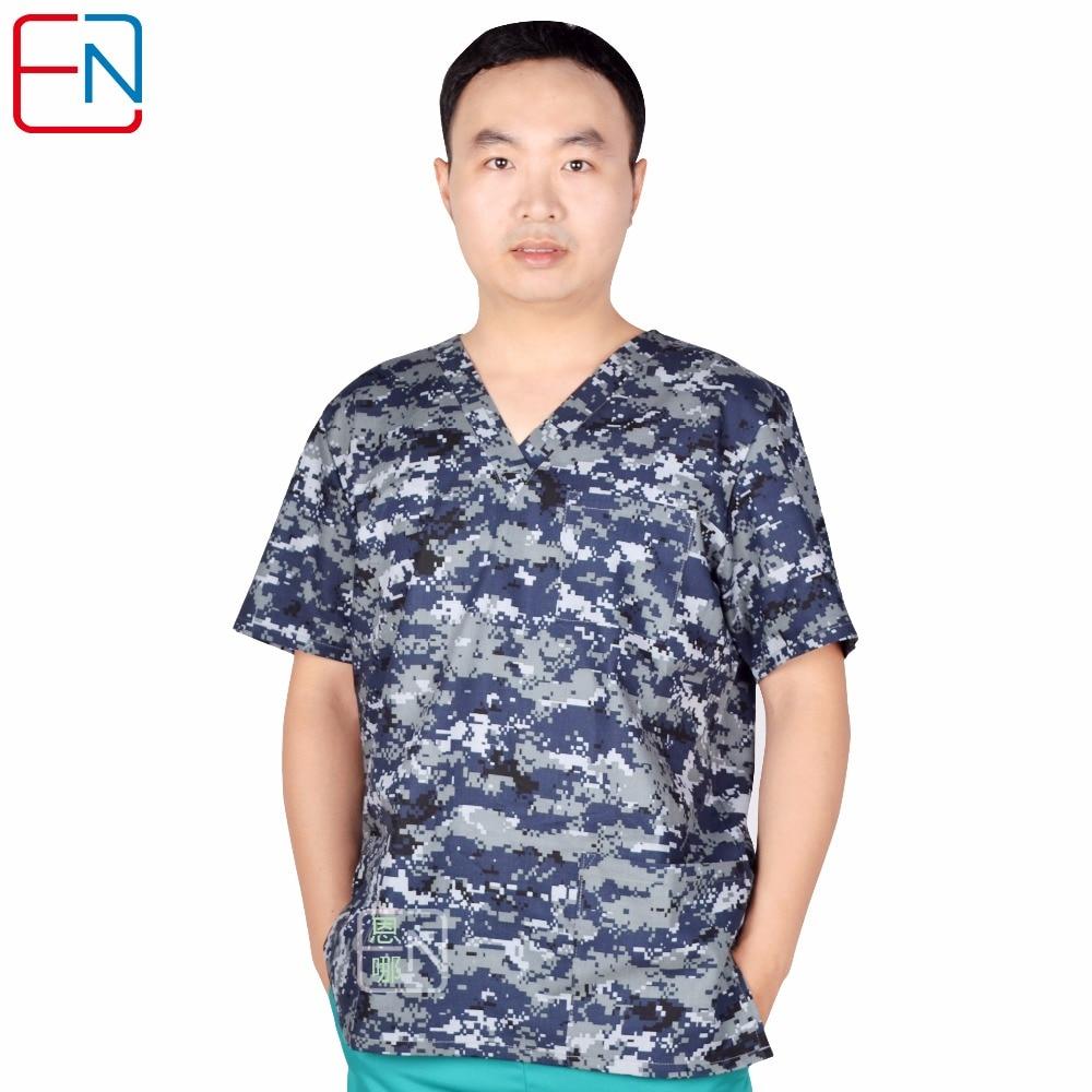 20180505 Hennar Men Medical Uniforms Hospital Clinical Nurse Nursing V-Neck Scrub Tops 100% Cotton Print Men's Medical Scrub Top