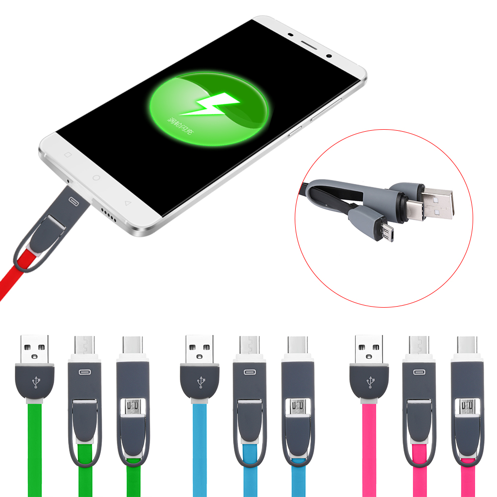 HTB1IOkqXmzqK1RjSZPcq6zTepXal New 2 In 1 Charging Cord USB-C Adapter Digital USB 3.1 Type-C to Micro USB Converter Data Charger Cable Smartphone Accessories