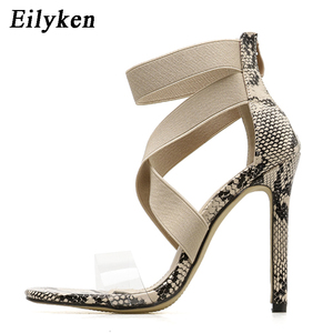 Image 5 - Eilyken New 2021 High Quqlity Women Sandals Open Toe Stiletto High Heels Summer Ladies Party Stretch Fabric Sandal Shoes