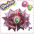 "Free Shipping Hand12pcs BLESSING Girl Boutique 5.5"" shopkins ribbon peppa pig  Hair Bow Hair accessories Kids Hairpins"