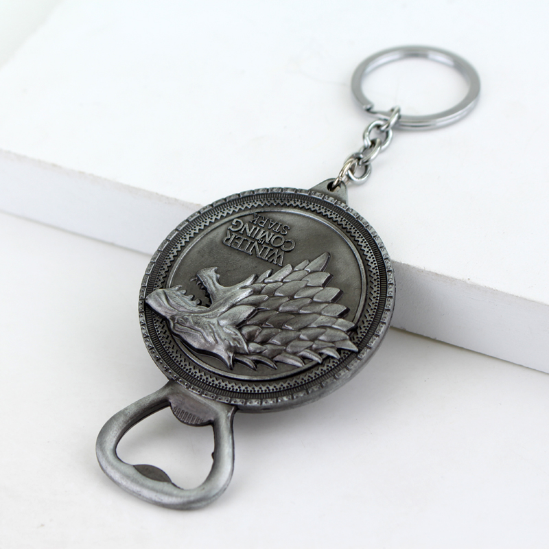 New Game of Thrones Bottle Opener Keychain Bar Beer Wine Tool House Stark  Winter Is Coming Metal Keyring Key Chain Ring For Fans-in Key Chains from  Jewelry ... b9a677f63f71