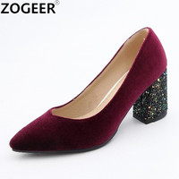 High Heels Shoes Women Pumps Fashion Velvet Spring Single Woman Dress Shoes Spring Thick Heels Pointed Toe Female Pumps