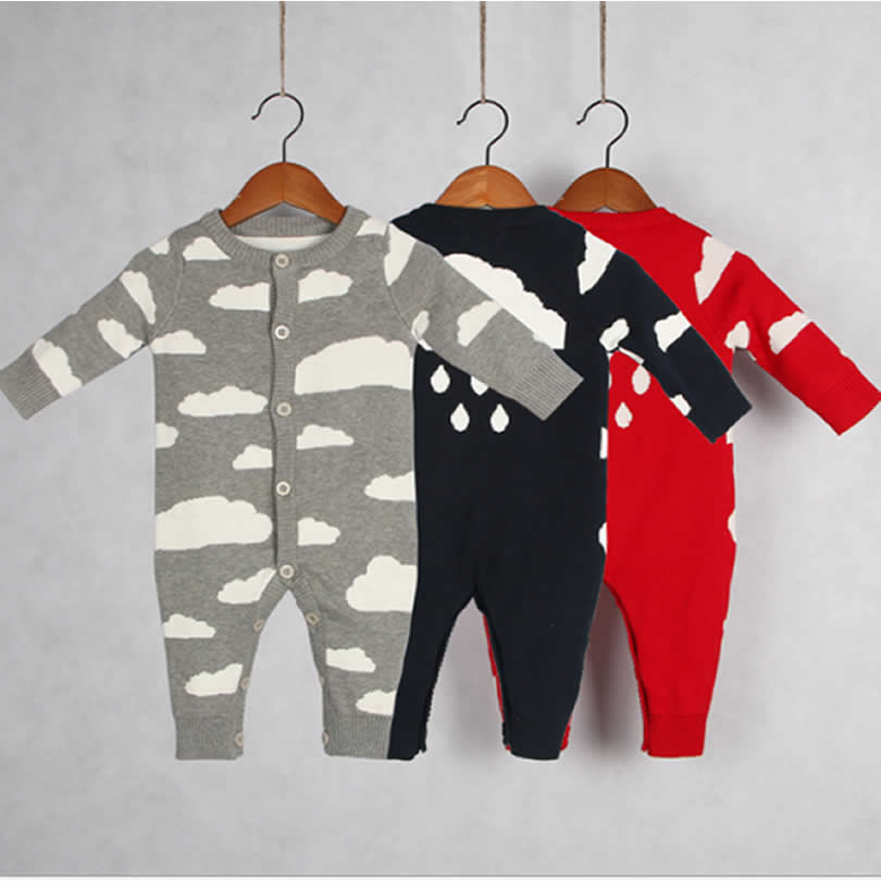 Autumn/Winter Baby Clothing onepiece Cute Clouds Rain Racing Boy Clothes Infant Knitting Sweater Climbing Joint Rompers Girls