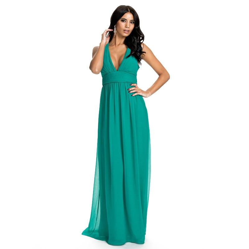 SSS Haute qualité En Mousseline de Soie Sexy de Soirée Low Cut V Cou-Parole longueur Robe Femmes Élégant Banquet Maxi Sans Manches Longues robe