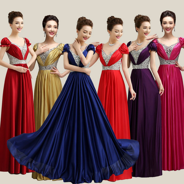 Multi Color Plus Size Gold Dark Red Satin V Neck Brides Maids Dress Bridesmaid Dresses Royal