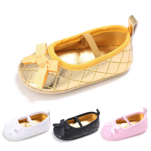Infant Toddler Baby Boy Girl Soft Sole Crib Shoes Sneaker Newborn Casual Summer Bowknot Shoes First Walkers Gold White
