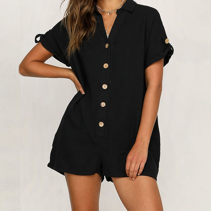 Summer Cotton Linen Cozy Playsuit Women Short Sleeve Button Rompers Casual Pockets Solid Playsuit Loose Wide Leg Sexy Jumpsuit