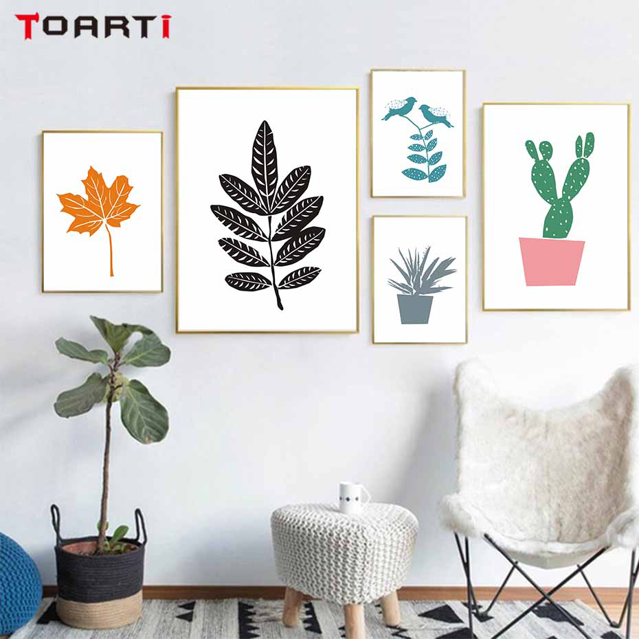 Nordic Style Leaves Aloe Cactus Potted Plant Wall Art Canvas Painting Posters And Print  Pictures Home Decoration No Frame