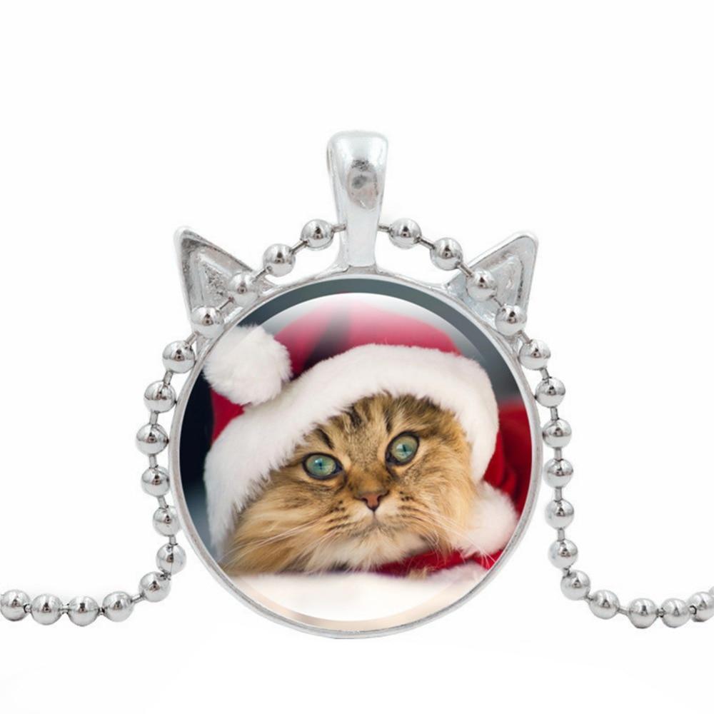 XY Fancy Newest Women Necklace Sweater chain Retro Jewelry Xmas Christmas Cat Pattern Glass Pendant Necklace