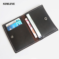SIMLINE Brand Vintage Handmade Genuine Crazy Horse Cow Leather Mens Men Short Slim Credit Card ID