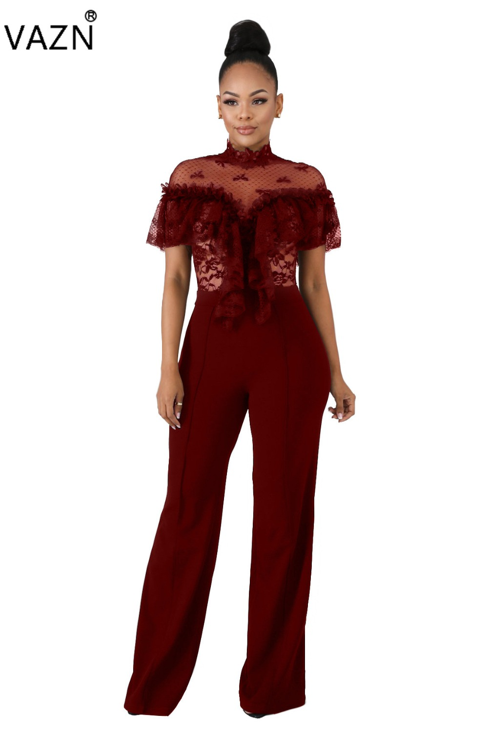 Vazn Spring Hot 2019 Famous Brand Women Solid 2 Color Wide Leg Long Jumpsuits Lady O-neck Short Sleeve Less Jumpsuits La3086 Convenient To Cook Jumpsuits