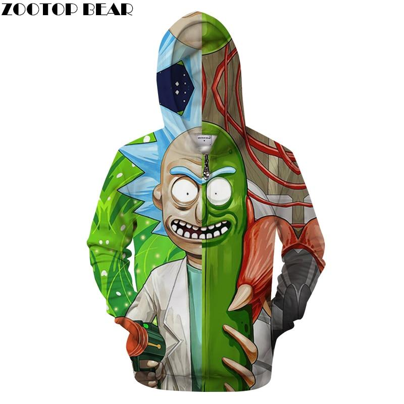 Rick and Morty Printed Hoodies Mens Zipper Sweatshirts 3D Zip Pullover Anime Hoody Streetwear Tracksuits Drop Ship ZOOTOP BEAR