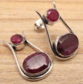 Beautiful rubi 2 Gem RED Stud Earrings ! Silver Plated Over Solid Copper