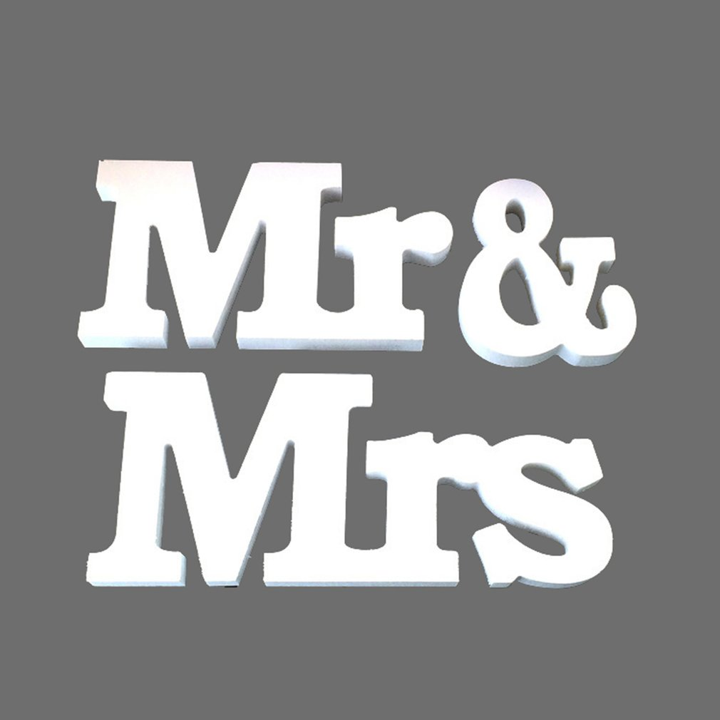 3pcs/set Party Supplies Wooden Furnishing Articles In English Letters Wedding Props Sweetheart Table Decor MR & MRS Sign